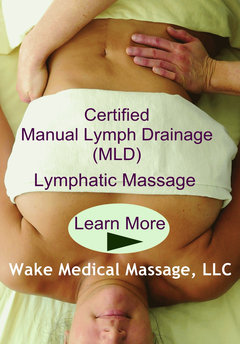 Cary Raleigh Durham  Chapel Hill Area North Carolina MLD Manual Lymph Drainage also known as Lymphatic Massage helps improve pre and post surgery conditions including Lyposuction tummy tuck and more